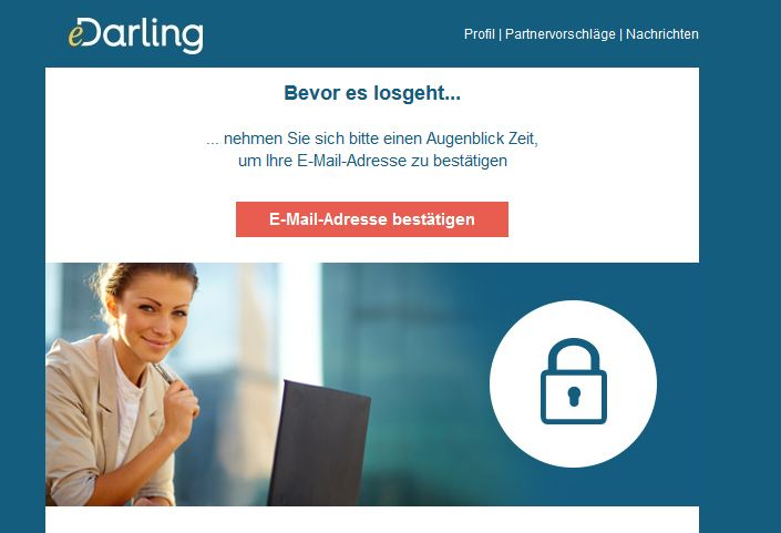 eDarling E-Mail bestaetigen