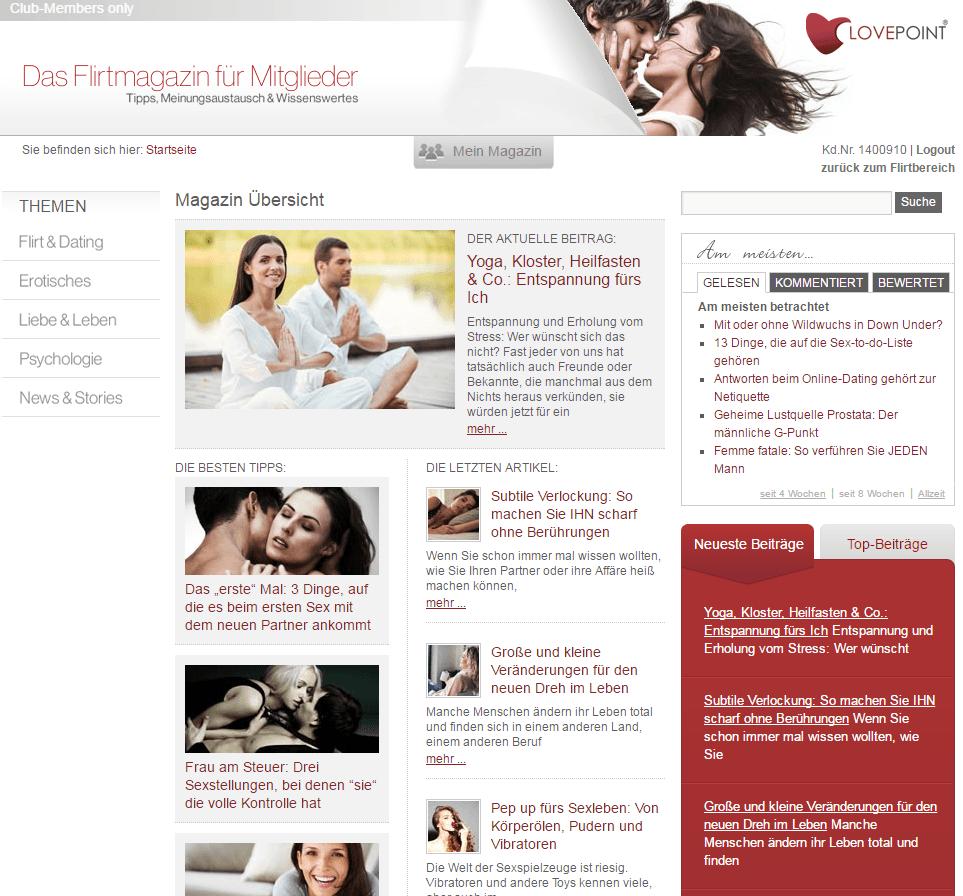 Lovepoint Flirtmagazin für Mitglieder